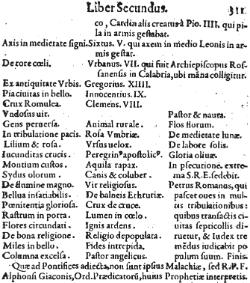 """Fragments no 1595.gada grāmatas """"Dzīvības koks"""" (Lignum Vitae), kur pārpublicēts sv.Malahija pravietojums."""
