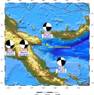 Četras zemestrīces ar spēku līdz 6,5 ballēm notikušas Papua-Jaungvinejā