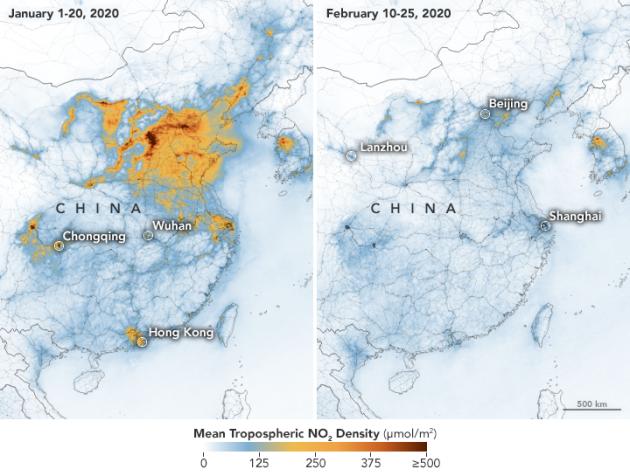 Virs Ķīnas pazeminās slāpekļa dioksīda daudzums gaisā. 2020 gada janvāris-februāris @ NASA Earth Observatory